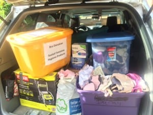 Car trunk filled with donations