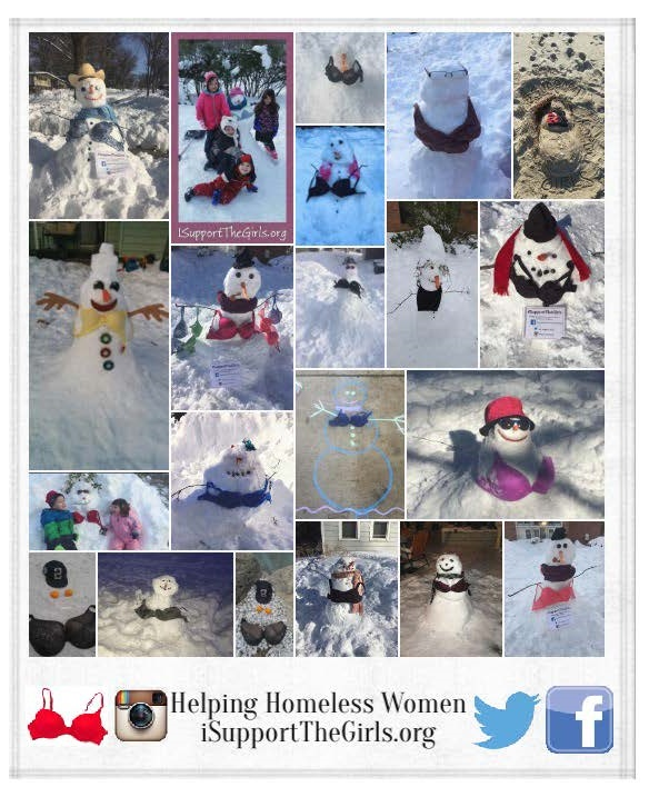 Collage of snow women wearing bras