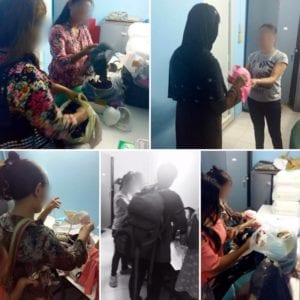 PicStitch of volunteers receiving and organizing bras