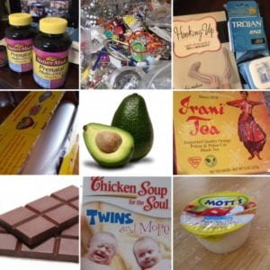 Grouped image of donations, including chocolate, apple sauce, an avocado, vitamins, a novel, Iranian tea, a book about twins, and saran wrap